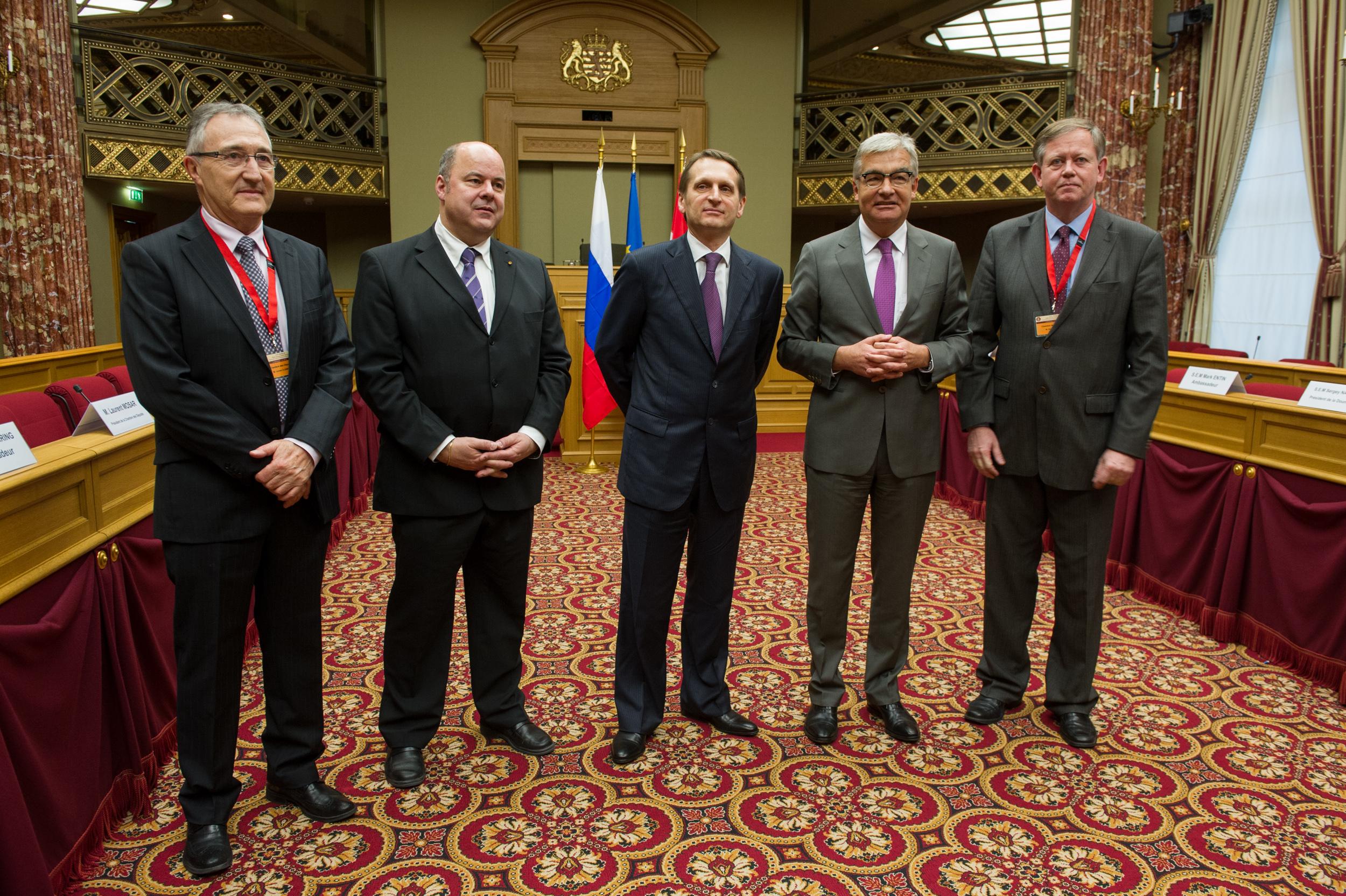 de g. à d: M. Lucien Clement, M. Marc Spautz, M. Naryshkin, Président de la Douma, M. Laurent Mosar, M. Alex Bodry ( Foto: Charles Caratini)