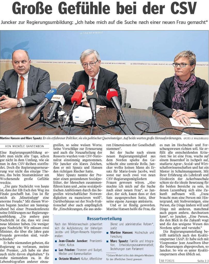 Luxemburger Wort  Nr.100  Datum: Montag, den 29. April 2013 Seite1